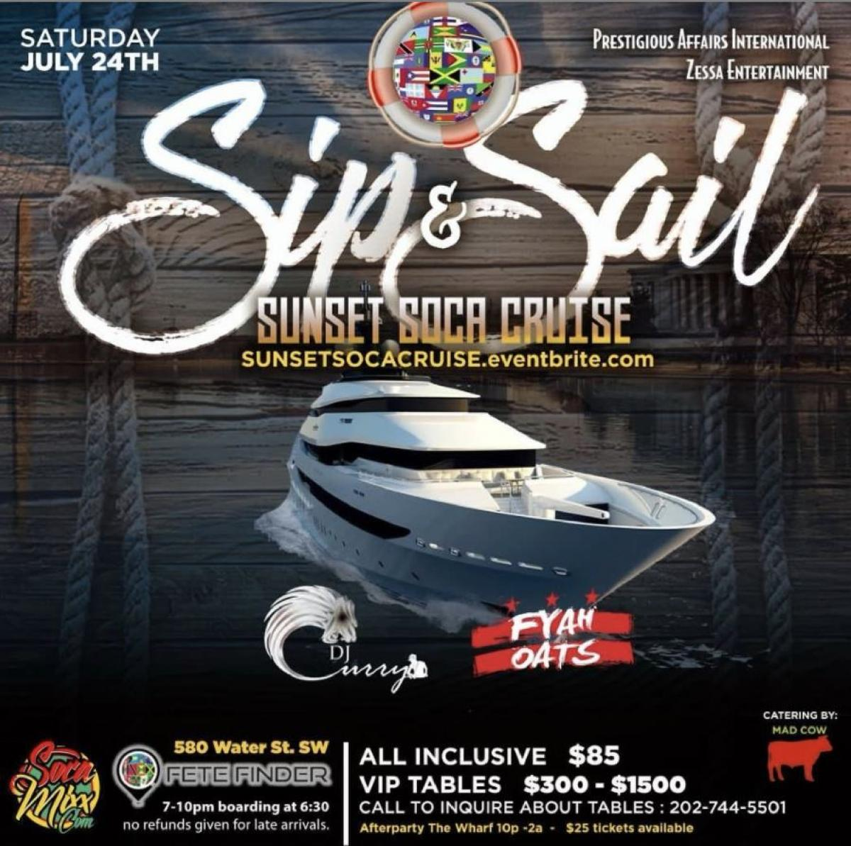 Sip & Sail flyer or graphic.