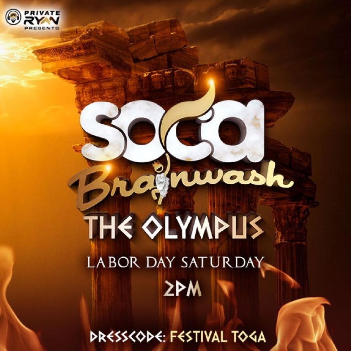 Soca Brainwash: The Olympus flyer or graphic.