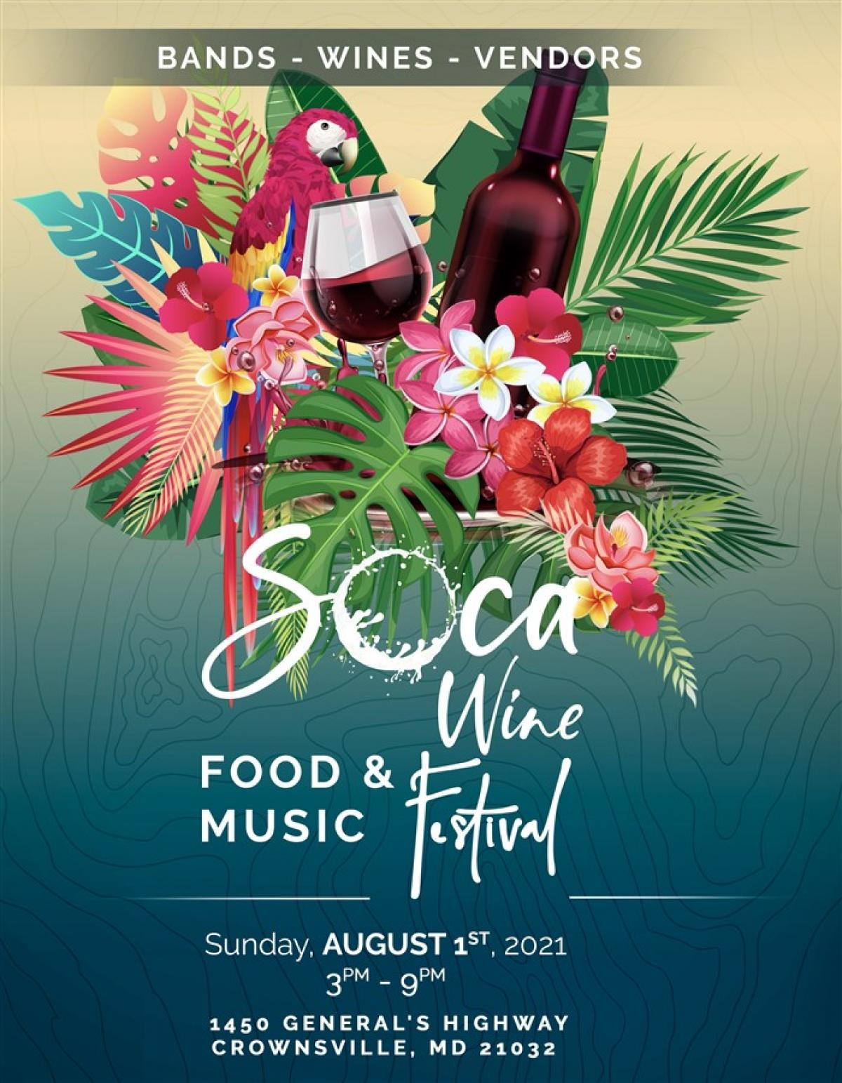 Soca Wine Music & Food Festival flyer or graphic.