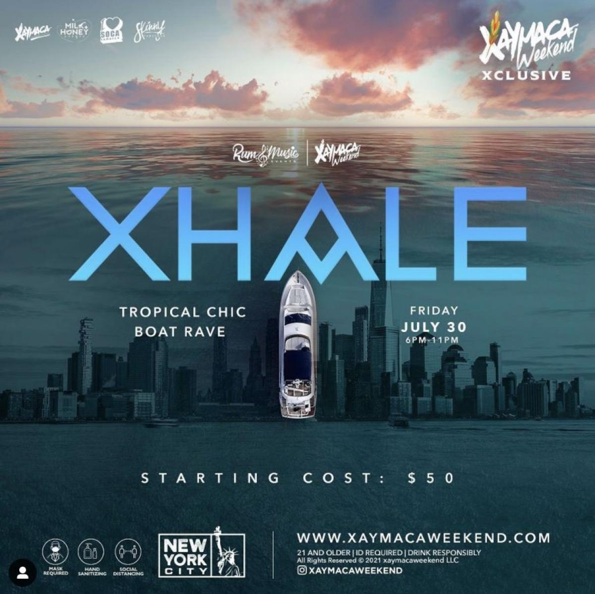 Xhale flyer or graphic.