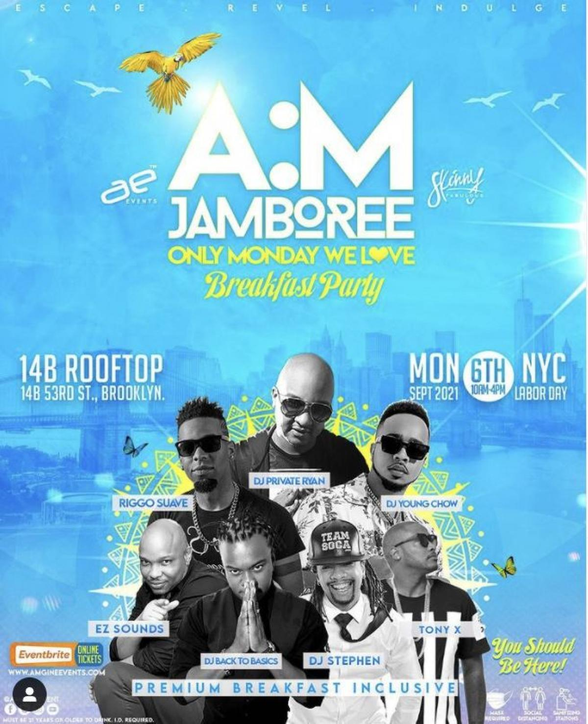 A:M Jamboree NYC flyer or graphic.