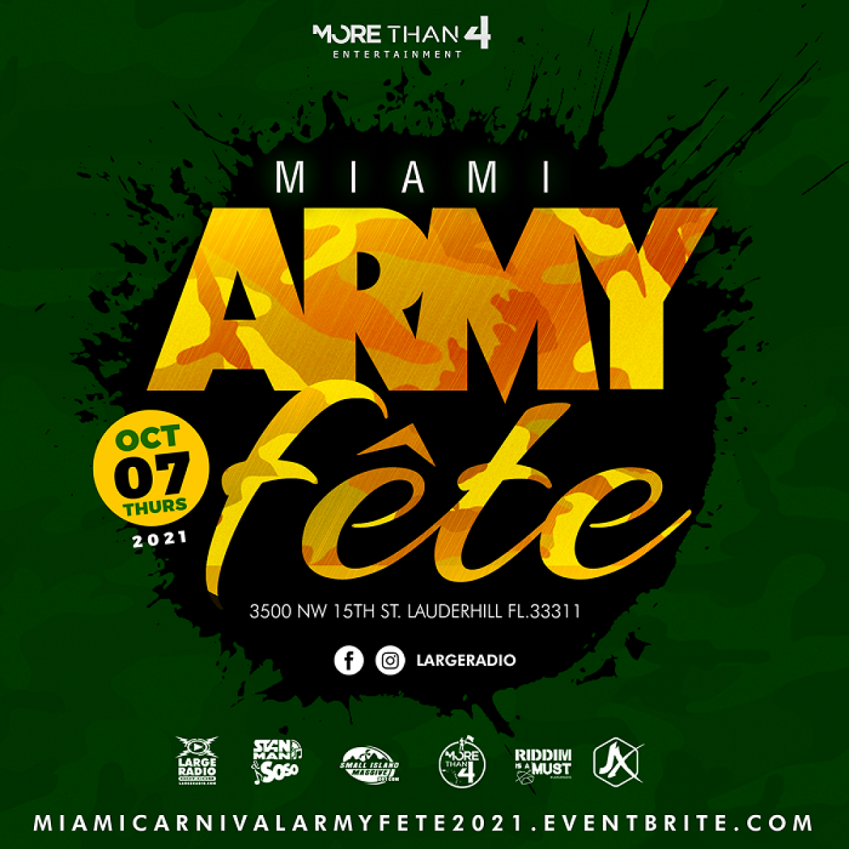 Army Fete Miami flyer or graphic.