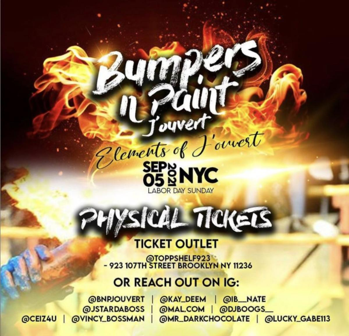 Bumpers N Paint Jouvert NYC flyer or graphic.