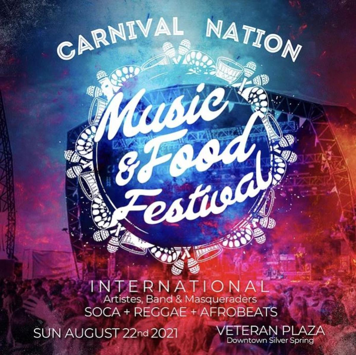 Carnival Nation: Food & Music Festival flyer or graphic.