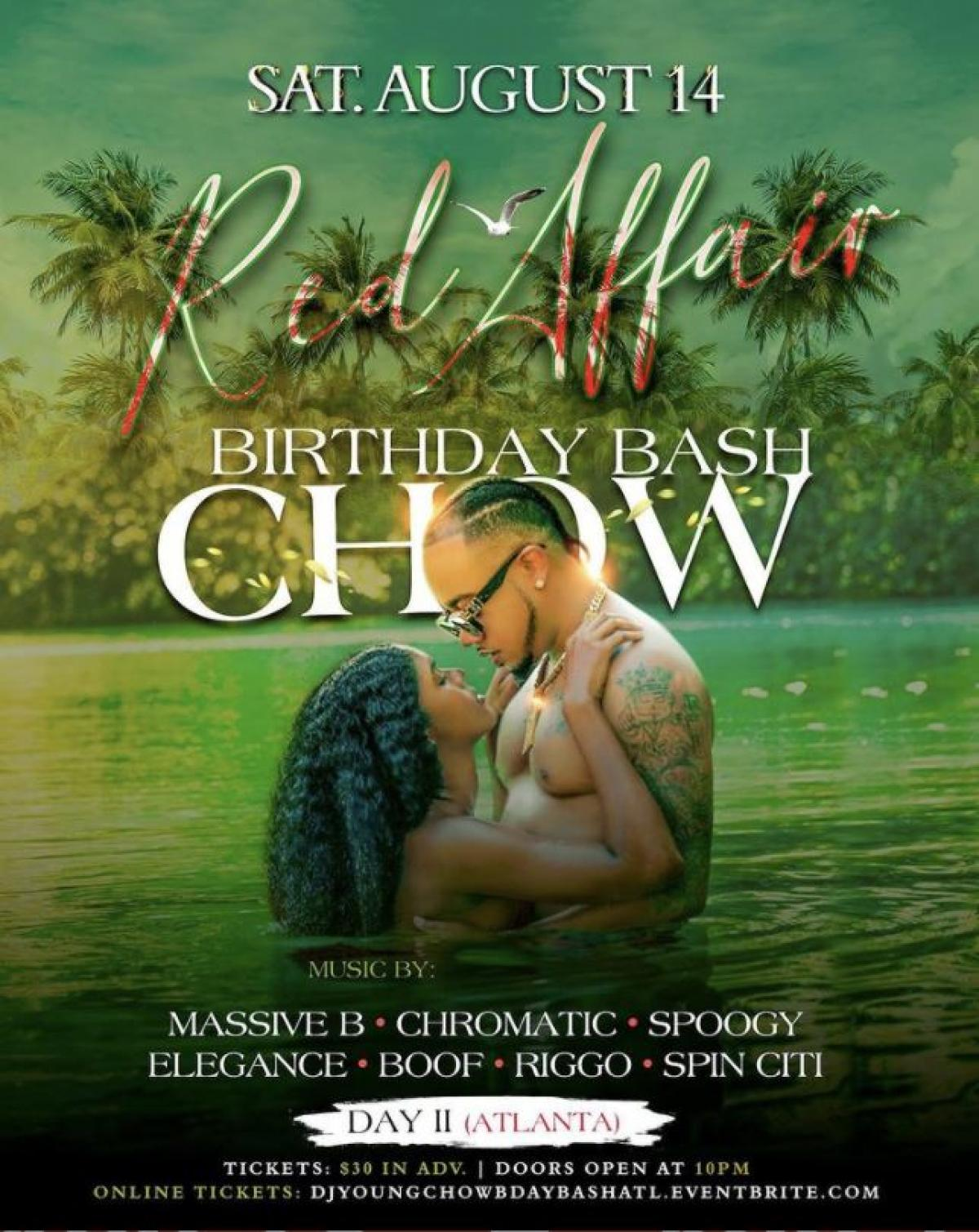 Dj Young Chow Birthday Bash ATL: All Red Affair flyer or graphic.