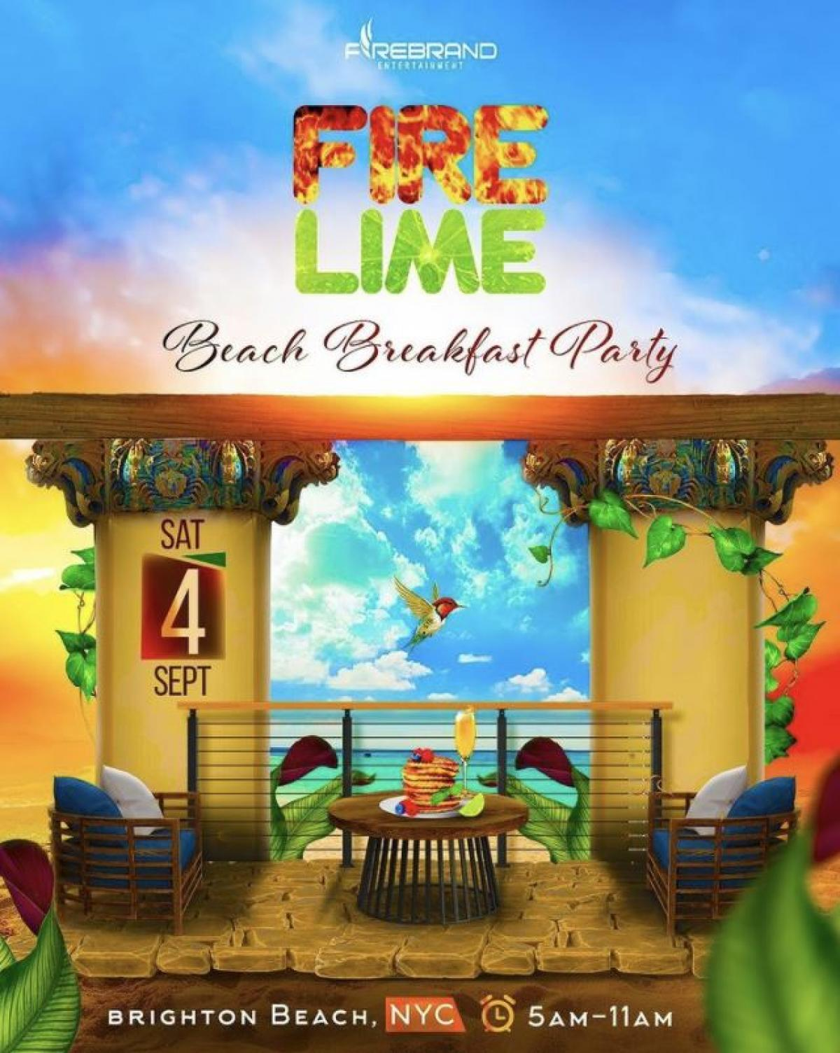 Fire Lime: Beach Breakfast  Party flyer or graphic.