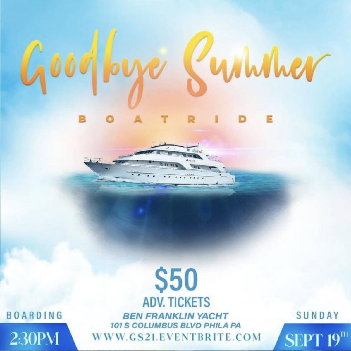 Goodbye Summer Boatride flyer or graphic.