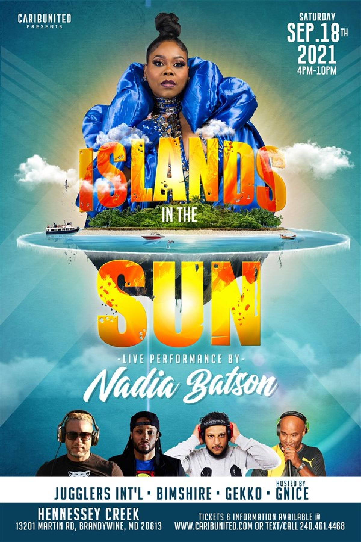 Islands In The Sun flyer or graphic.