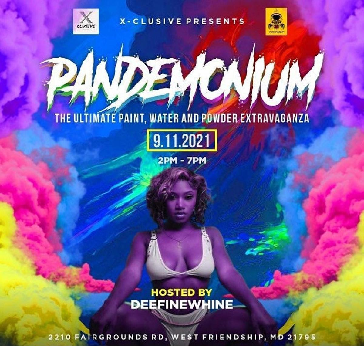 Pandemonium flyer or graphic.