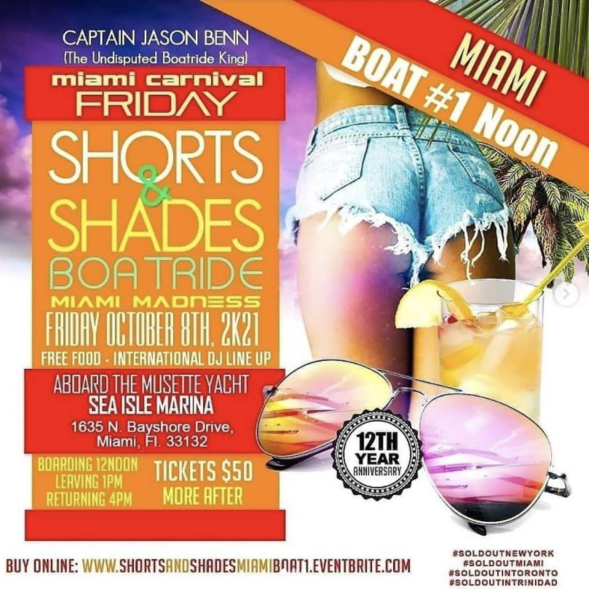 Shorts & Shades MIA Noon Boat flyer or graphic.