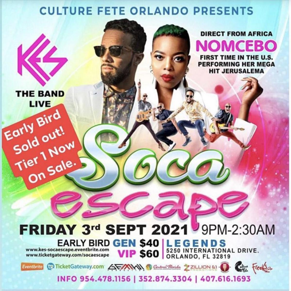 Soca Escape Orlando flyer or graphic.