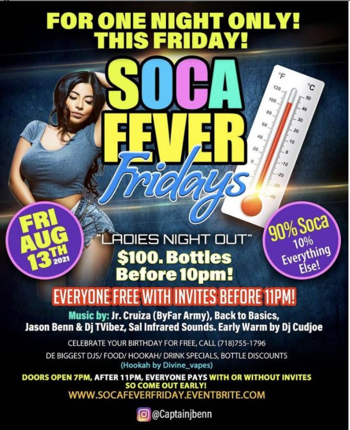 Soca Fever Friday  flyer or graphic.