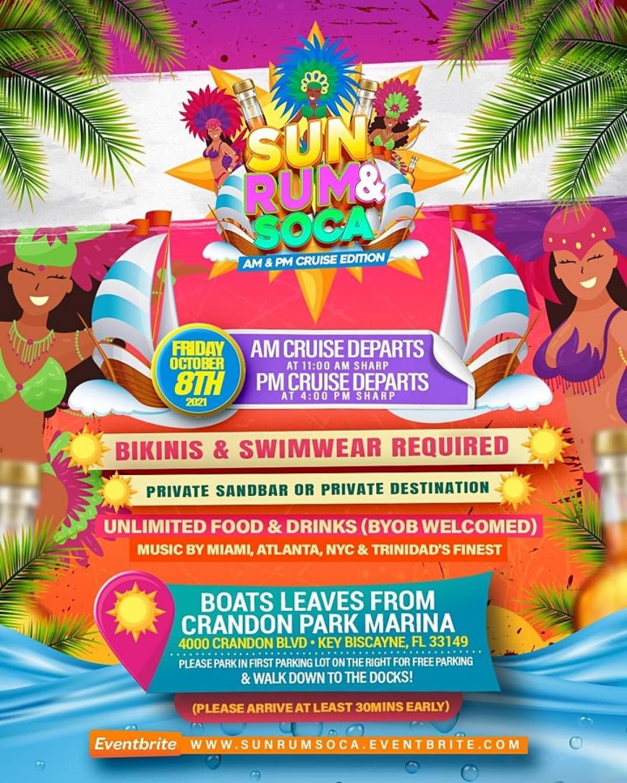 Sun Rum & Soca Cruise 2021 flyer or graphic.