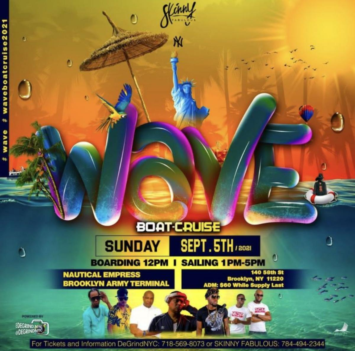 Wave Boat Cruise 2021 flyer or graphic.