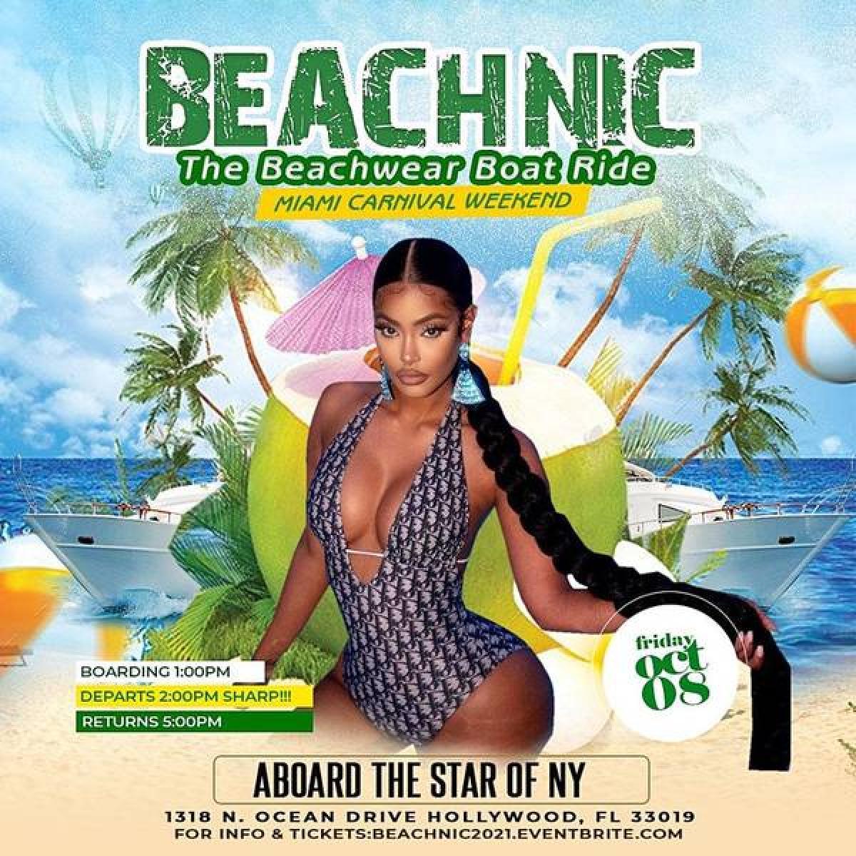 Beachnic: The Beachwear Boat Ride flyer or graphic.