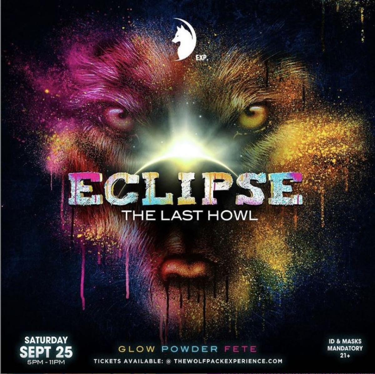 Eclipse: Glow Powder Jouvert flyer or graphic.