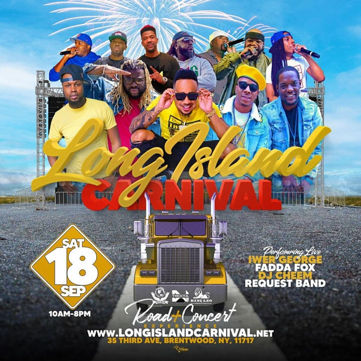 Long Island Carnival Road Experience & Concert flyer or graphic.